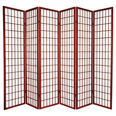 6 ft. Tall Window Pane Shoji Screen - Rosewood (6 Panels)