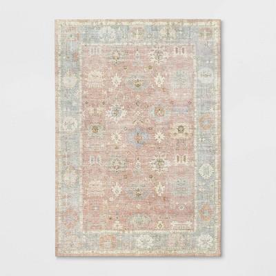 7'X10' Attleboro Digital Print Boarder Persian Rug Blush - Threshold™
