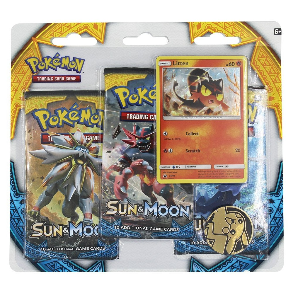 Pokemon Trading Card Game Sun Moon 3pk Blister featuring Litten Give your collection a boost! Get in on the latest Pokemon Trading Card Game action with three awesome booster packs from the new Sun and Moon expansion, a special holographic promo card featuring Litten, a cool Pokemon coin to add to your collection, and a code card for the Pokemon Trading Card Game online! Gender: Unisex.