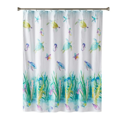 Watercolor Ocean Shower Curtain Multi
