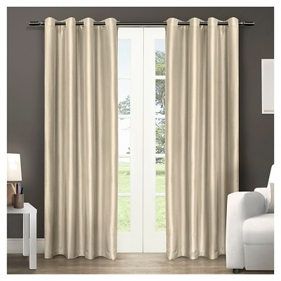 Chatra Faux Silk Grommet Top Window Curtain Panel Pair Bone (54 x96 )- Exclusive Home™