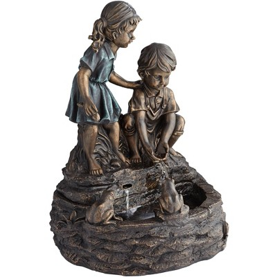 "John Timberland Outdoor Floor Fountain with Light LED 26"" High Two Kids Over Pond for Garden Patio Backyard Deck Home Porch House"