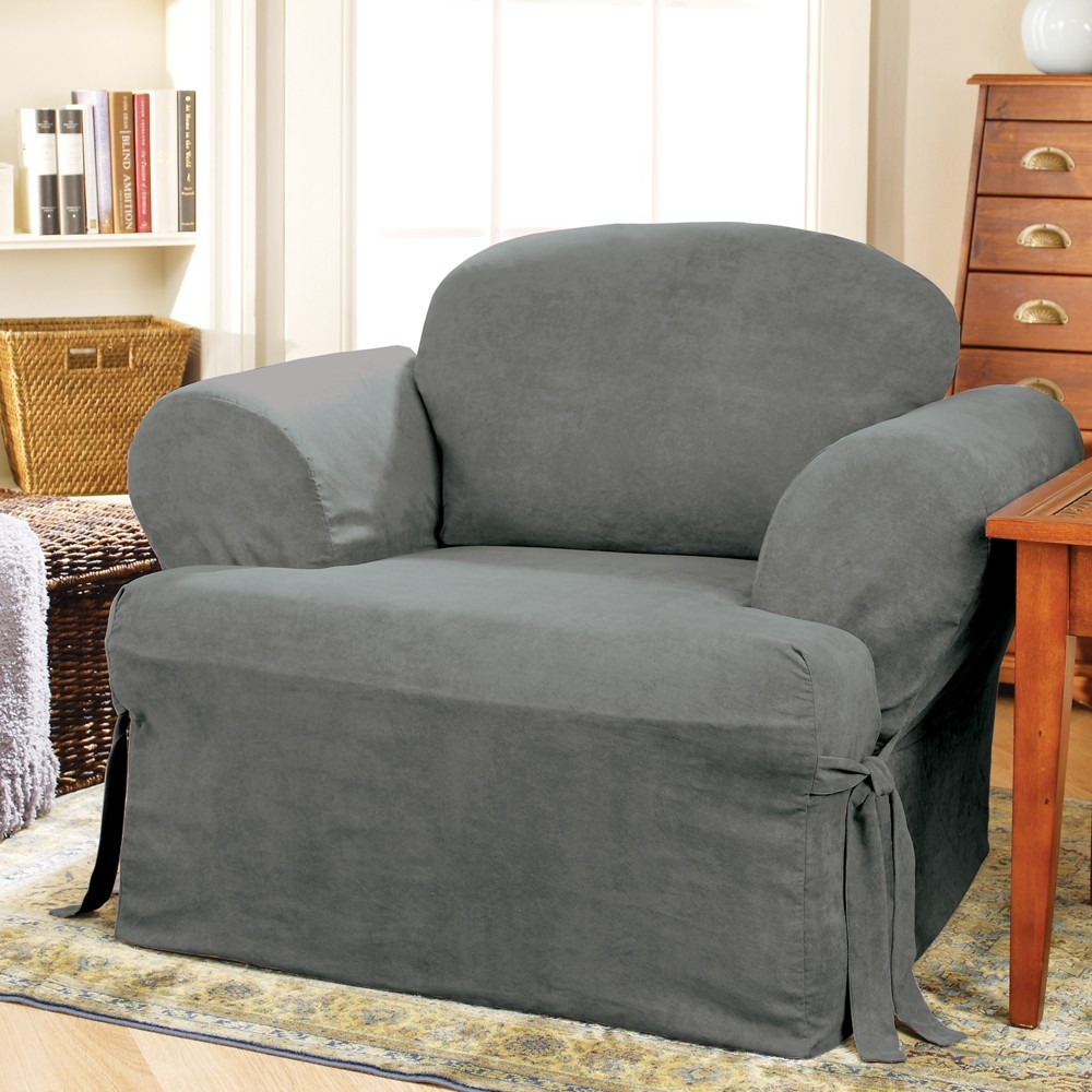 Soft Suede Tchair Slipcover Smoke Blue - Sure Fit