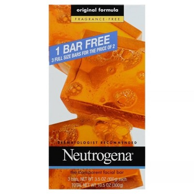 Neutrogena Facial Cleansing Bar Fragrance Free - 3pk