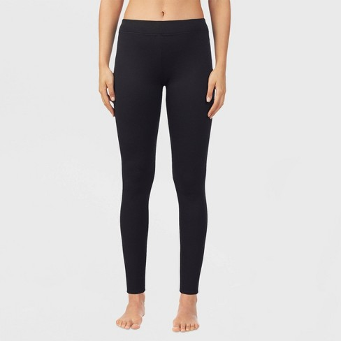 Warm Essentials by Cuddl Duds Women's Luxe Lined Jersey Thermal Leggings - Black - image 1 of 2