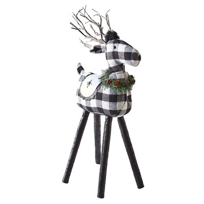 Lakeside Black and White Reindeer Tabletop Decoration with Light Up LED Antlers