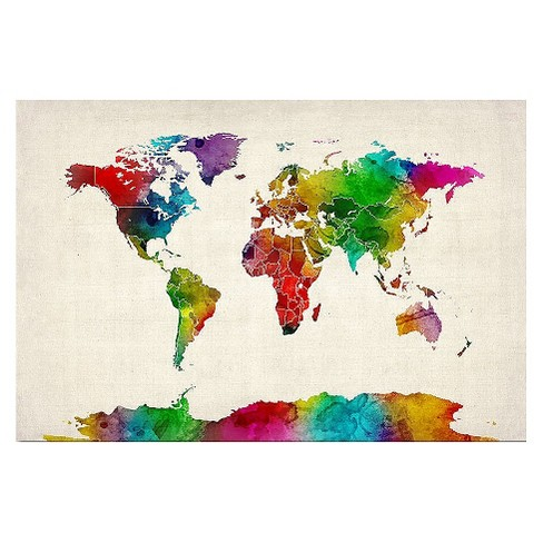 'Watercolor World Map II' by Michael Tompsett Ready to Hang Canvas Wall Art - image 1 of 1