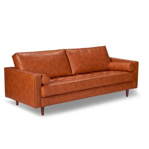 Zander Mid Century Modern Leather Sofa Caramel Aeon Target