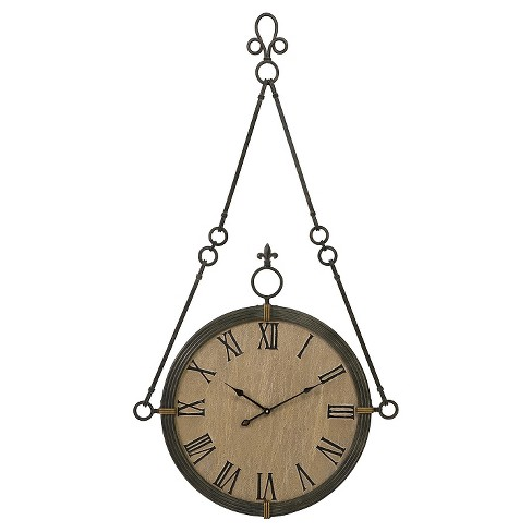 Suspended Round Wall Clock Vintage Wood Finish - Aurora® - image 1 of 1