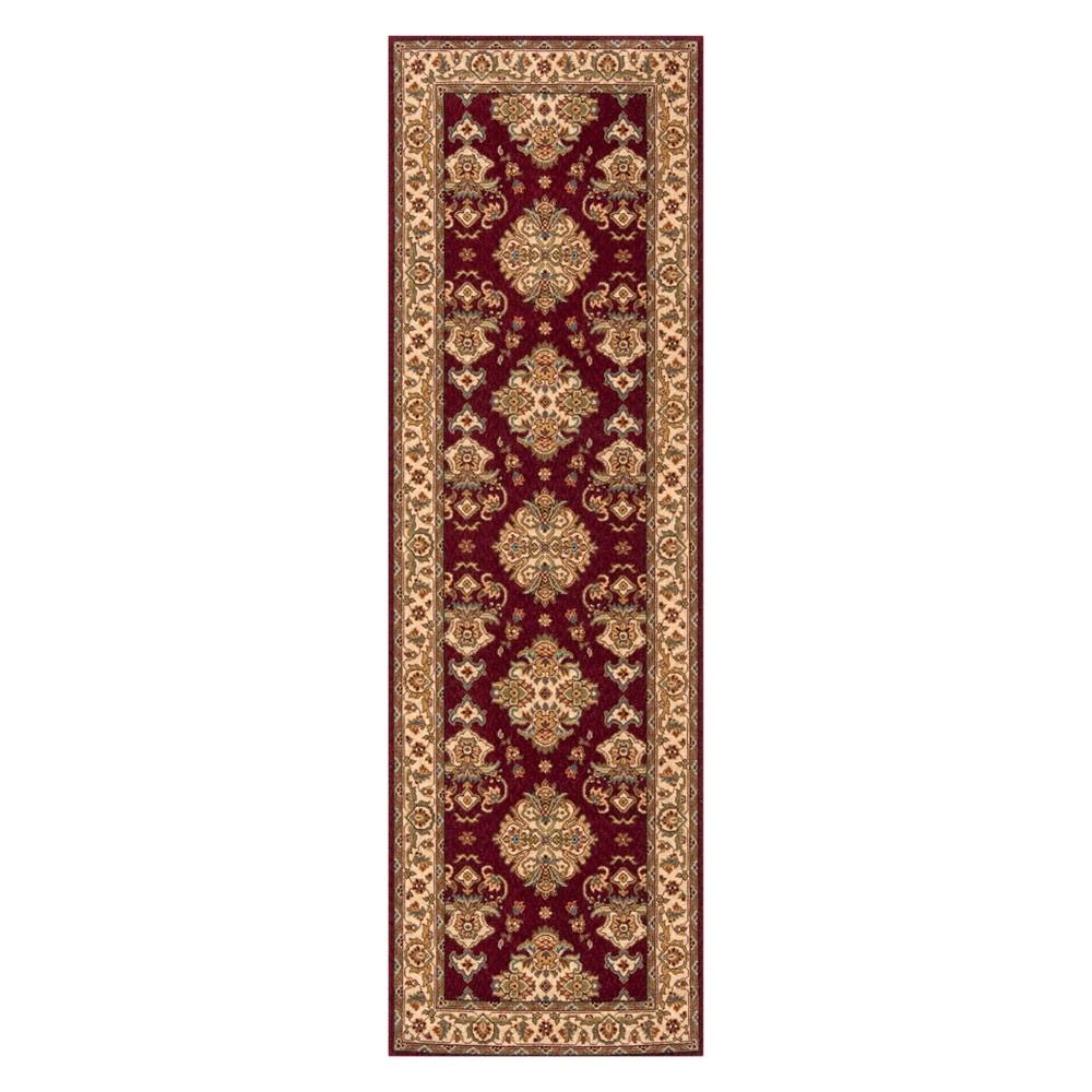 2'6X8' Damask Loomed Runner Burgundy (Red) - Momeni