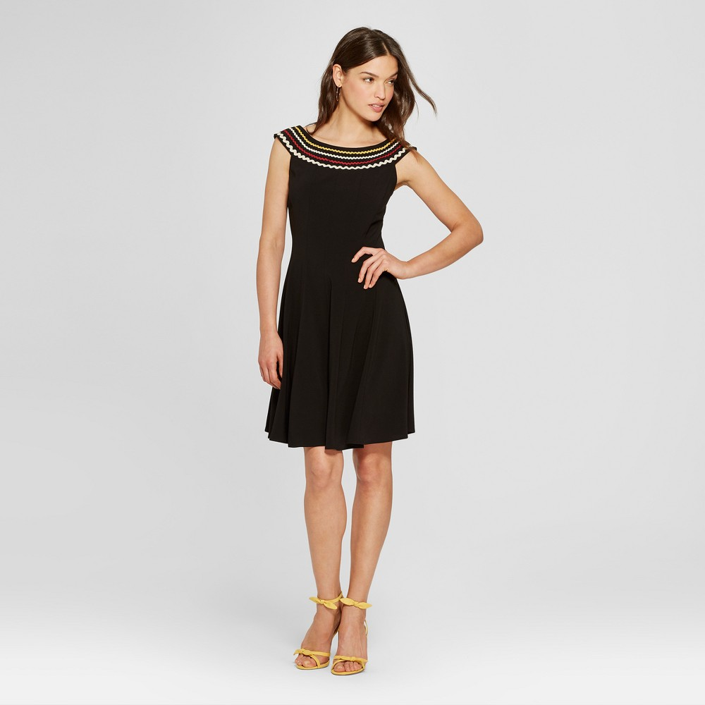 Women's Off the Shoulder Dress with Ric Rac Detail - Melonie T - Black 10, Size: Small was $49.99 now $32.49 (35.0% off)