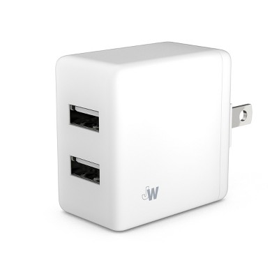 Just Wireless Dual USB Home Charger 2.4 Amp No Cable - White