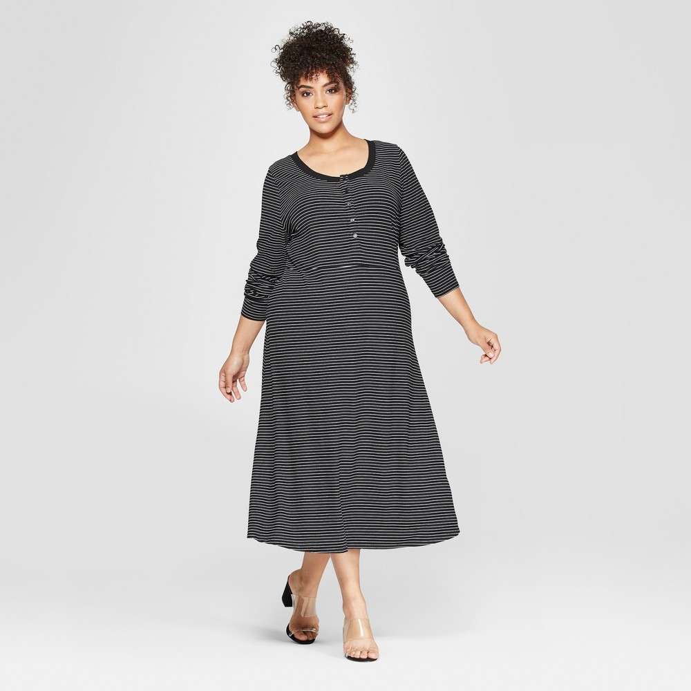 Women's Plus Size Striped Button-Down Rib Midi Dress - Who What Wear Black/White 2X, Black/White Stripe