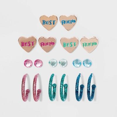 Girls' 9pk Heart Best Friend Earring Set - Cat & Jack™
