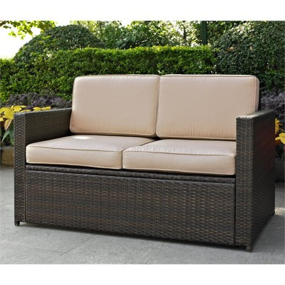 Steel Wicker Patio Loveseat In Brown With Sand Cushions Pemberly Row