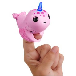 Fingerlings Light Up Narwhal - Rachel (Pink) - Friendly Interactive Toy by WowWee