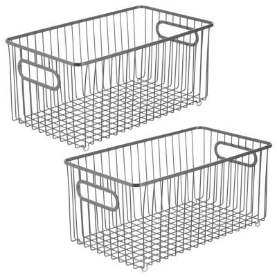 mDesign Metal Kitchen Pantry Food Storage Basket, 2 Pack