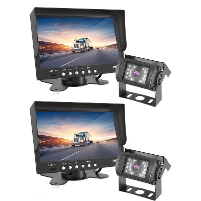Pyle PLCMTR71 Weatherproof Marine Grade Rearview Vehicle Backup Camera w/ Universal Stand Mount & 7 Inch Monitor Video System for Car & Truck (2 Pack)