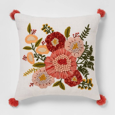Embroidered Floral Square Throw Pillow - Opalhouse™