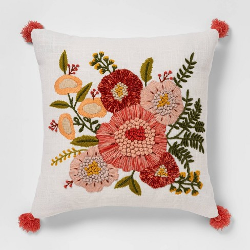 Embroidered Floral Square Throw Pillow - Opalhouse™ - image 1 of 4