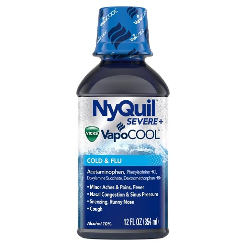 NyQuil Severe with Vicks Vapocool Nighttime Cold & Flu Relief Liquid - Acetaminophen - 12 fl oz - image 1 of 4