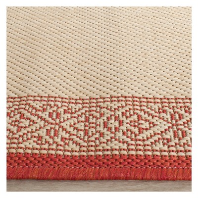 '4'X5'7'' Antibes Outdoor Rug Natural/Red - Safavieh, Size: 4' x 5'7'''