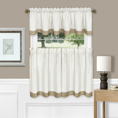 Farmhouse Striped Café Kitchen Curtain Tier & Valance Set - Assorted Colors