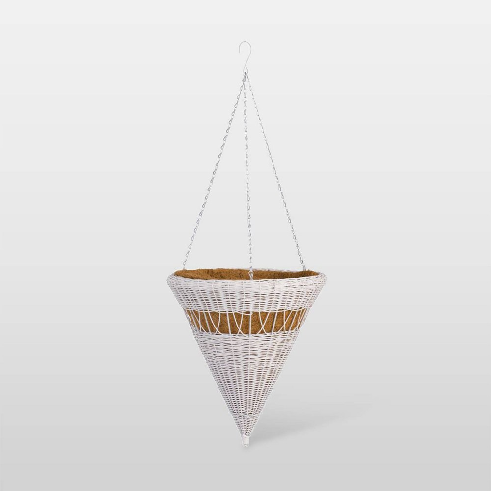 "Image of ""14"""" Resin Wicker Cone Hanging Basket White - DMC Products"""