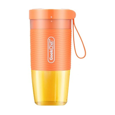 Geek Chef 10 Ounce Rechargeable Cordless Waterproof Mini Portable Blender Bottle with USB Cable Charger for Travel, Office, and Gym, Orange