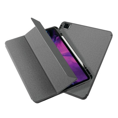 """Insten - Soft TPU Tablet Case For iPad Pro 12.9"""" 2020, Multifold Stand, Magnetic Cover Auto Sleep/Wake, Pencil Charging, Gray"""