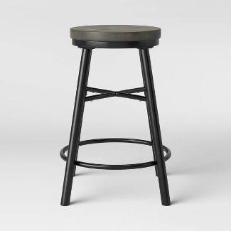 Metal & Wood Seat Counter Stool Black - Room Essentials™