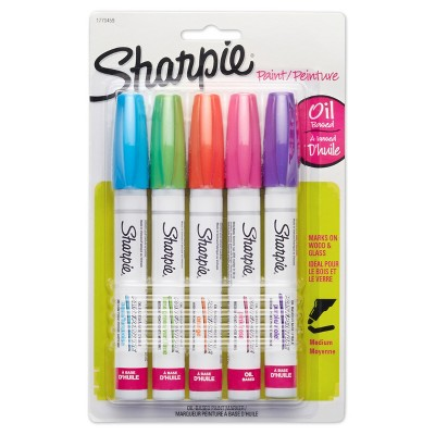 Sharpie® Oil Base Paint Markers, Medium Tip, 5pk - Brights Multicolor