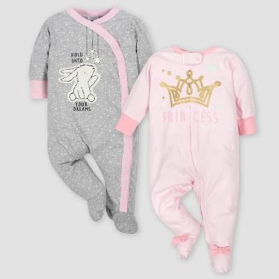 Gerber Baby Girls' 2pk Bunny & Princess Sleep 'N Play - Gray/Pink 0-3M