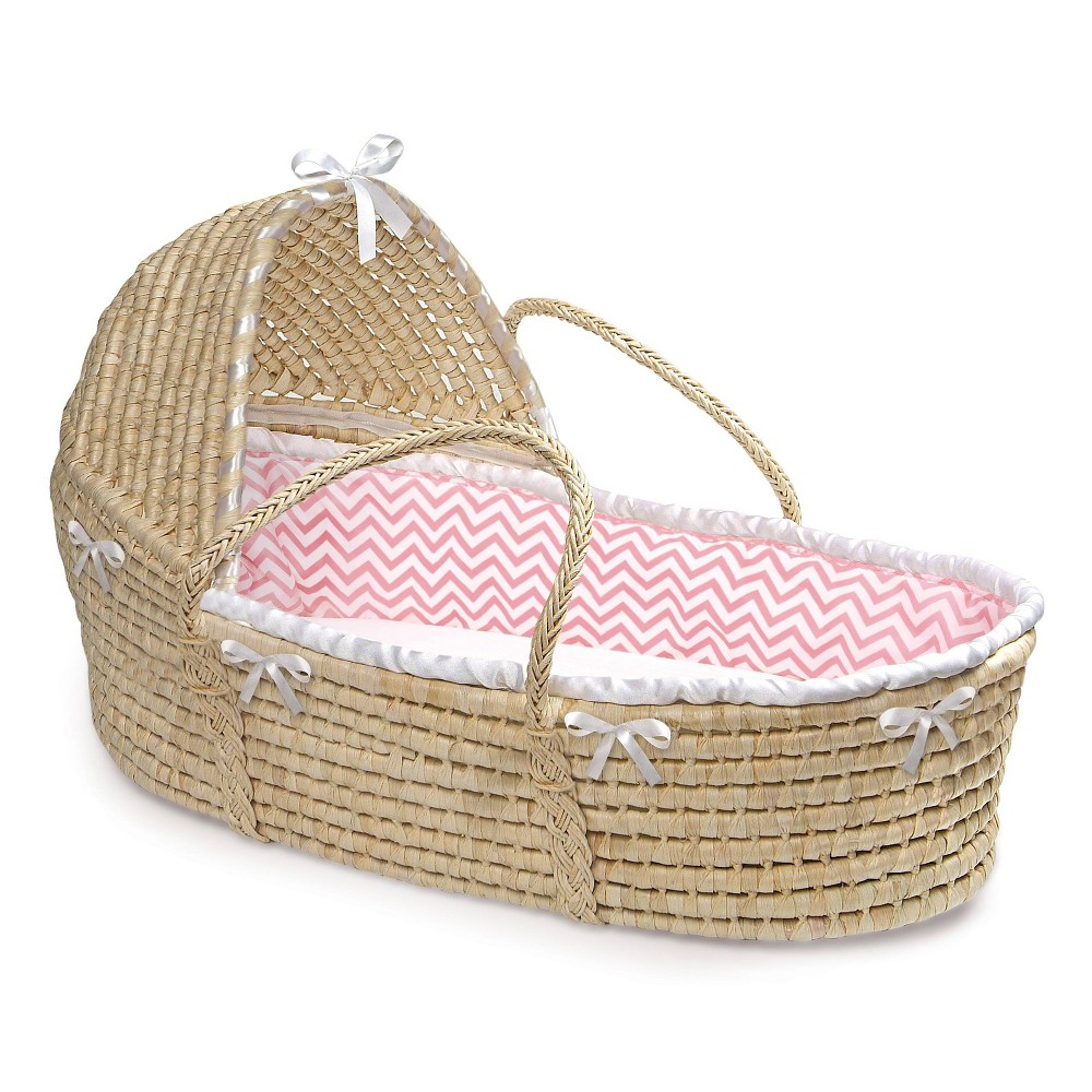 Image of Badger Basket Natural Hooded Moses Basket Bedding - Pink Chevron