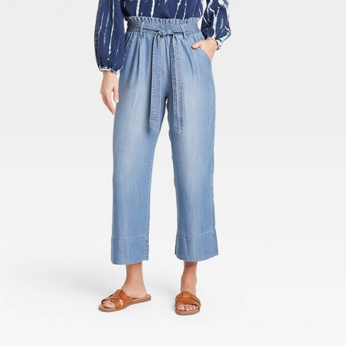 Women's Mid-Rise Tie-Front Cropped Wide Leg Pants - Knox Rose™ - image 1 of 3