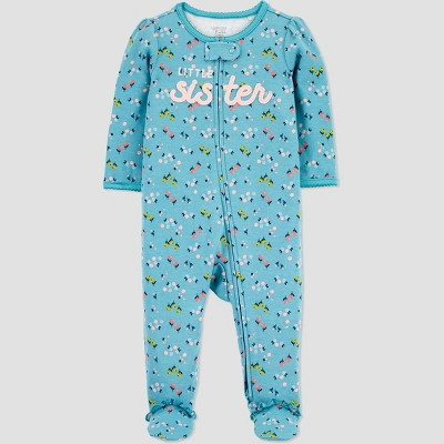 Baby Girls' 'Little Sister' Interlock One Piece Pajama - Just One You® made by carter's Blue 3M