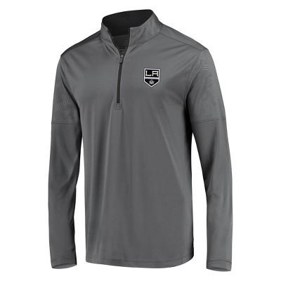 NHL Los Angeles Kings Men's Defender Embossed 1/4 Zip Sweatshirt - Gray S