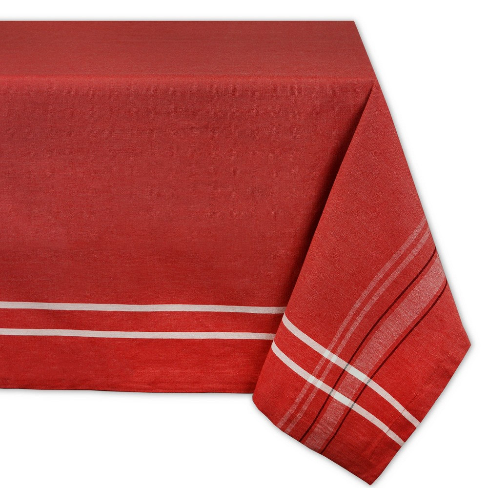"Image of ""104""""x60"""" French Stripe Chambray Tablecloth Red - Design Imports"""