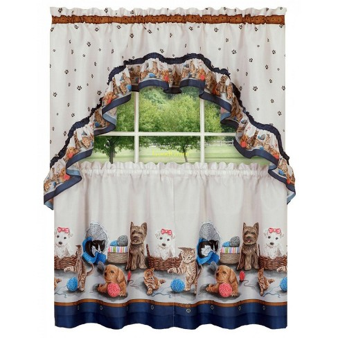 GoodGram Adorable Puppies & Kittens Kitchen Curtain Tier & Swag Set - image 1 of 1