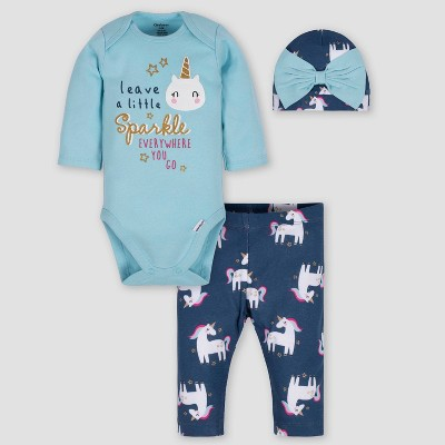 Gerber Baby Girls' 3pc Unicorn Bodysuit Pants & Cap Set - Blue 6-9M