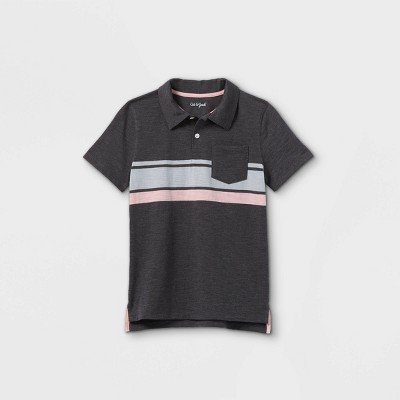 Boys' Short Sleeve Striped Knit Polo Shirt - Cat & Jack™ Gray