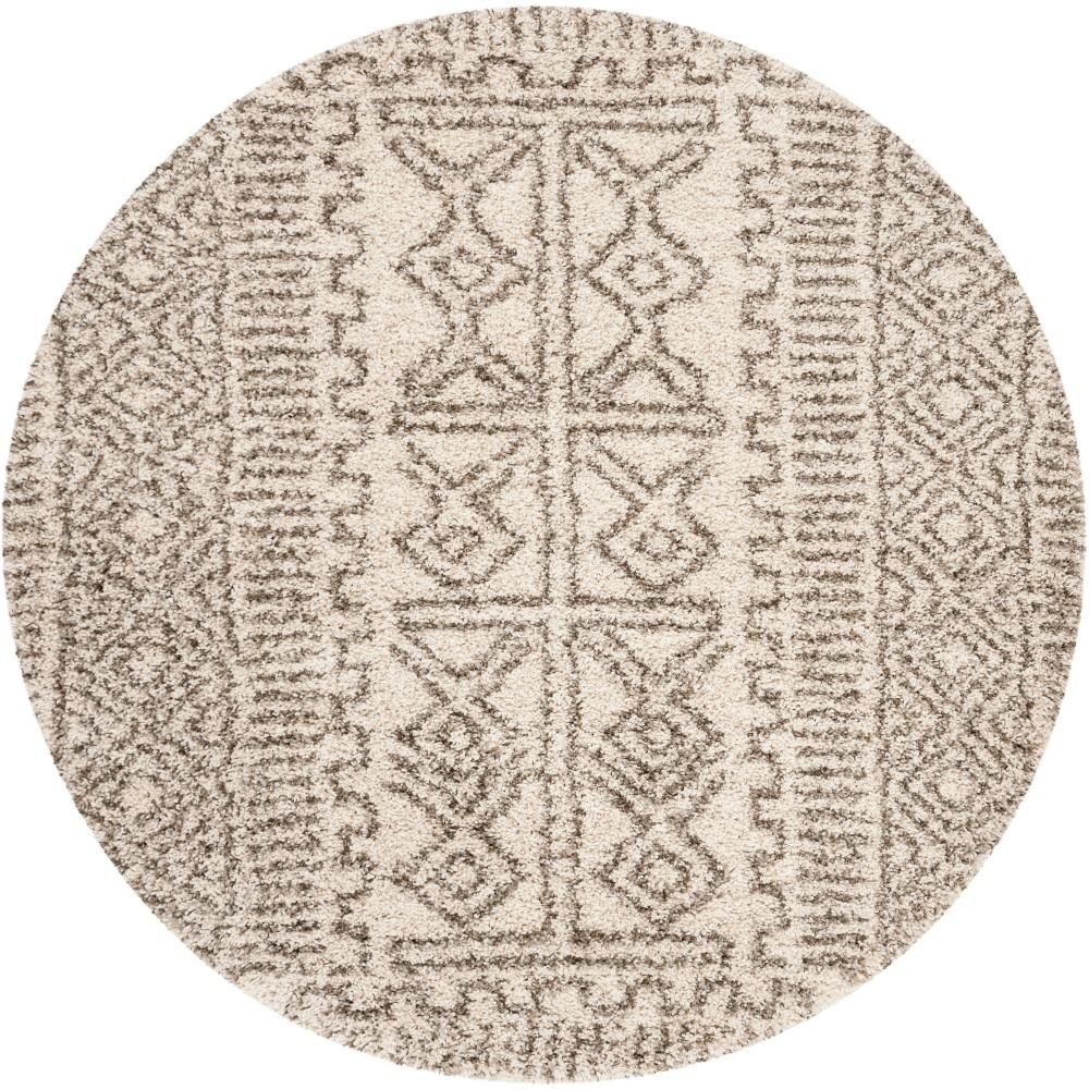 7' Tribal Design Loomed Round Area Rug Ivory/Gray - Safavieh, White