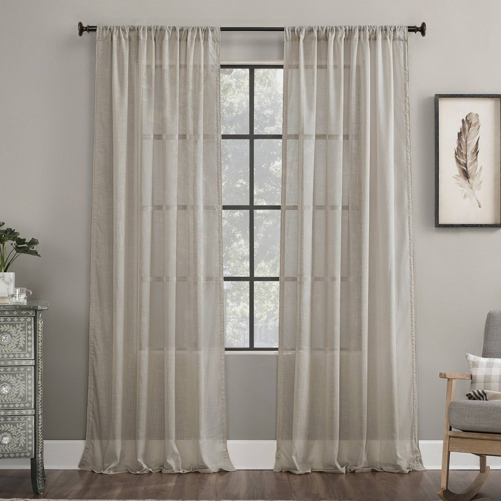 "Image of ""50""""x63"""" Embroidered Border Cotton Sheer Curtain Beige - Archaeo, Size: 50""""x63"""""""