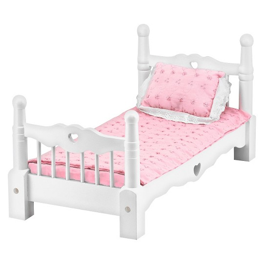 Melissa & Doug White Wooden Doll Bed With Bedding (24 x 12 x 11 inches) image number null