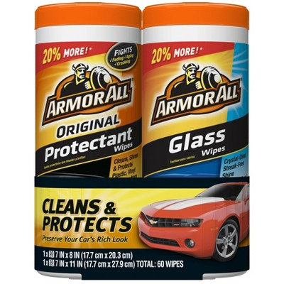 Armor All 2pk 30ct Original Protectant/Glass Wipes Automotive Protector