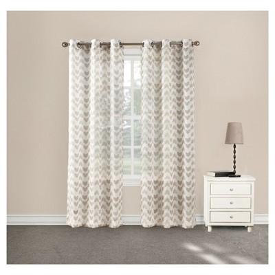 Linda Split Chevron Sheer Grommet Curtain Panel Chevron Almond 40 x84  - No. 918