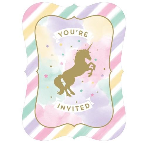 8ct creative converting sparkle unicorn invitations target