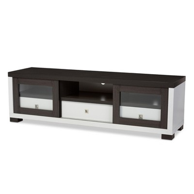 Merveilleux Oxley 70   Entertainment TV Cabinet With Two Sliding Door And Three Drawers    Dark Brown, White   Baxton Studio