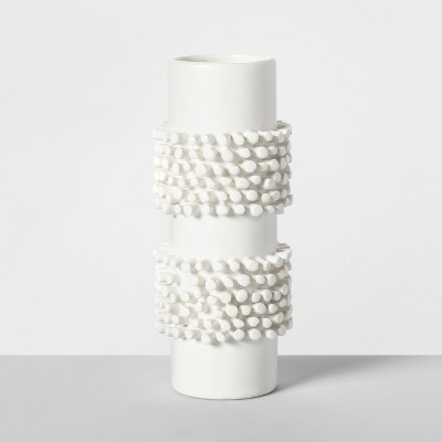7.7  x 3.2  Porcelain Tufted Vase White - Opalhouse™