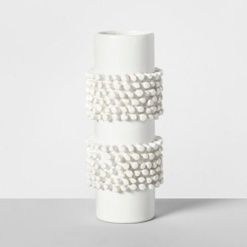"""7.7"""" x 3.2"""" Porcelain Tufted Vase White - Opalhouse™ - image 1 of 4"""